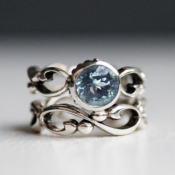 aquamarine engagement ring set unique bezel engagement ring march birthstone ring wedding ring - Infinity Wedding Ring Set