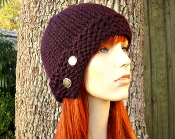 Knit Hat Womens Hat - Cloche Hat in Eggplant Purple Knit Hat - Purple Hat Purple Beanie Purple Cloche Womens Accessories Winter Hat