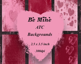 Be Mine Digital Valentine ATC Background Set