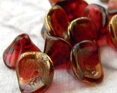 Golden Cherry Cordial (12) -Czech Glass Bell Flowers 10x12mm