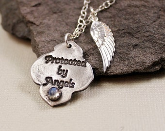 Protected By Angels Necklace - Ceylon Blue Moonstone, Fine Silver