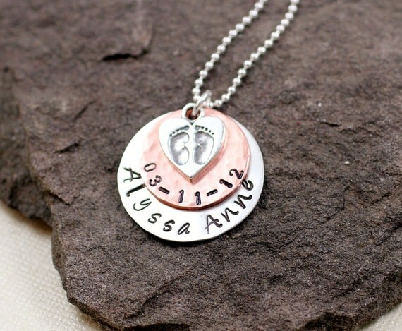 Mommy Necklace -Baby Feet, Sterling Silver , Copper, New Mom, Mothers Day
