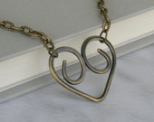 Bronze Heart Necklace, Hammered Open Heart Pendant on Textured Oval Link Chain... Artisan Metalwork Jewelry