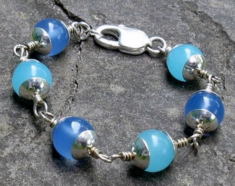 Blue Larimar & Aqua Chalcedony Bracelet, Sterling Silver Wire Wrapped Gemstones... Made for a Petite Wrist