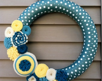 Spring Wreath - Easter Wreath - Summer Wreath - Mother's Day Wreath - Polka Dot Wreath - Ribbon Wreath - Felt Flower Wreath - Housewarming