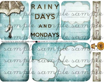 ART TEA LIFE Journal Cards Rainy Day Monday Scrapbook Collage Sheet print clip art Digital File project life photo sleeve fitted