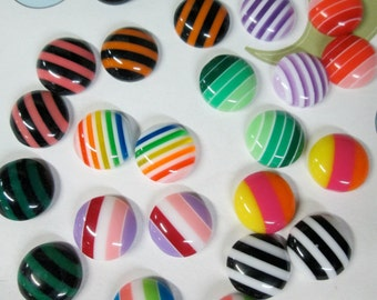 25 cute 10mm round striped cabochons,  mixed color cabs