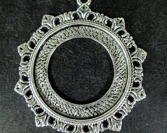 4 30mm filigree silver plated bezel settings, heavy duty round pendant blanks, B249