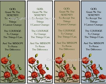 Printable Bookmarks, Poppies And Serenity Prayer, Original Art, Flowers, Nature, Christian Prayer, Instant Download