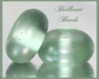 """Frosted Pewter Grey...""""Sea Glass"""" Spacer Bead Pair...Handmade Lampwork Beads SRA, Made To Order"""