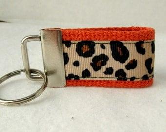 Mini Key Fob Leopard - ORANGE Animal Print Key Chain - Cheetah Small Key Ring - Cheetah Zipper Pull