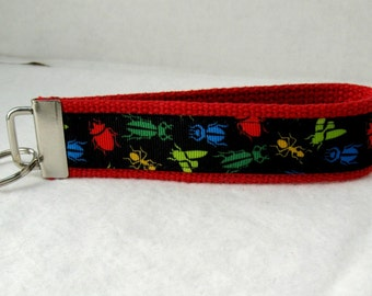 Bugs Key Fob Red Insects Keychain Wristlet