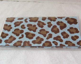 Checkbook Cover Cheetah Blue Works with Duplicate Checks Animal Print Vinyl Cash Holder