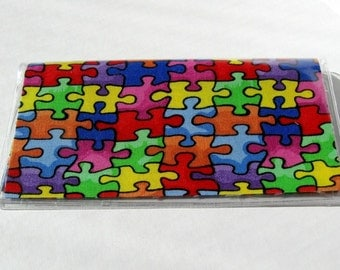 Checkbook Cover Autism Puzzle Pieces Cash Holder Works with Duplicate Checks