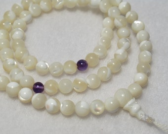 Mother of Pearl 108-Bead Mala with Amethyst Counters