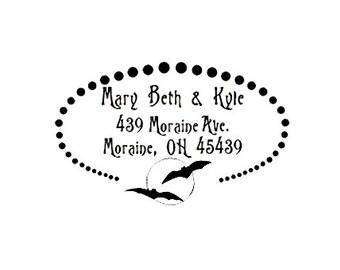 Halloween Bats Return address custom rubber stamp