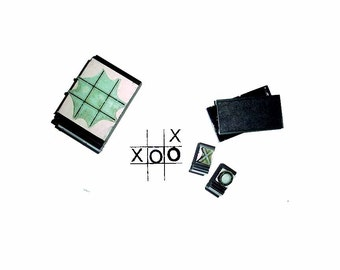 CLEARANCE SAMPLE SALE Tic-Tac-Toe Rubber Stamp travel set