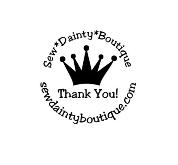 princess crown Thank You custom rubber stamp