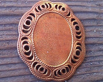 Vintage Brass Cameo Setting. Finding. Faux Filligree Edging. 18x13.