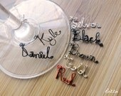 Custom Name Wine Glass Charms, Set of 2 Personalized Wine Charms, Gold, Black, Brown, Red, Silver