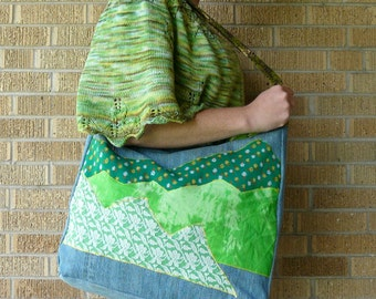 Upcycled Tote Bag Green Alpine Meadows - Rocky Mountains