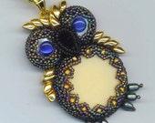 Beaded/ Beadwoven Owl Pendant . Embroidered Owl . Blue Cat's Eyes Black Onyx Owl. Genuine Pearl Owl - Blue Eye Owl by enchantedbeads on Etsy