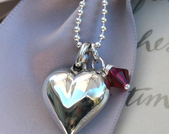 Sterling Puffed Heart necklace with crystal charm