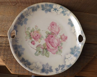 Vintage Serving Plate, Made in Germany, Rose Plate, Cake Plate