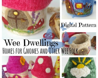 PDF Knitting and Felting Pattern for Felted Wool Houses : Wee Dwellings (Waldorf Inspired Toy and Pouch)