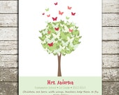 TEACHER Gift Personalized Print - Butterfly Tree Wall Art - Personalize with Name, School, Grade