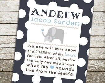 Custom Baby Boy Nursery Wall Art - No One Will Ever Know the Strength of My Love for You - 8x10 Gift Print