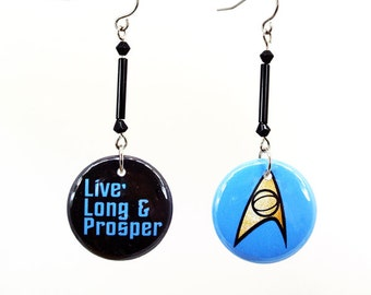"""1"""" Buttons Live Long and Prosper Star Trek TOS Hooks, Posts, Lever backs, Clip Ons 1 Inch Pinback Button Earrings"""