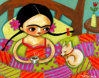 PRINT Frida in bed with tan chihuahua dog 8x10 reproduction poster of painting by Tascha