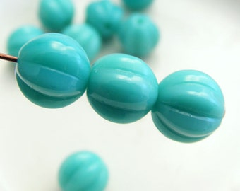 8mm Melon Beads Czech Glass Round Opaque Turquoise  (12pk) SI-8ML-TQ