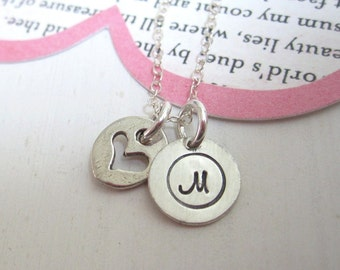 Initial and Heart ...Girls Hand Stamped Personalized Initial Necklace ...Personalized Necklace Jewelry