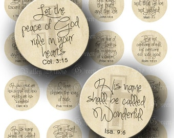 INSTANT DOWNLOAD Digital Collage Sheet Inspirational Bible Quotes God Biblical Quotations One 1 Inch Circles for Pendants Magnets (C159)
