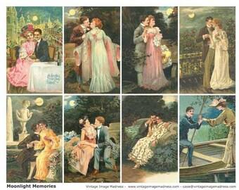 MOONLIGHT MEMORIES Vintage Postcards - Instant Download Digital Collage Sheet