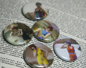 Bathing Belles  - Set of 5 Pin Back Buttons