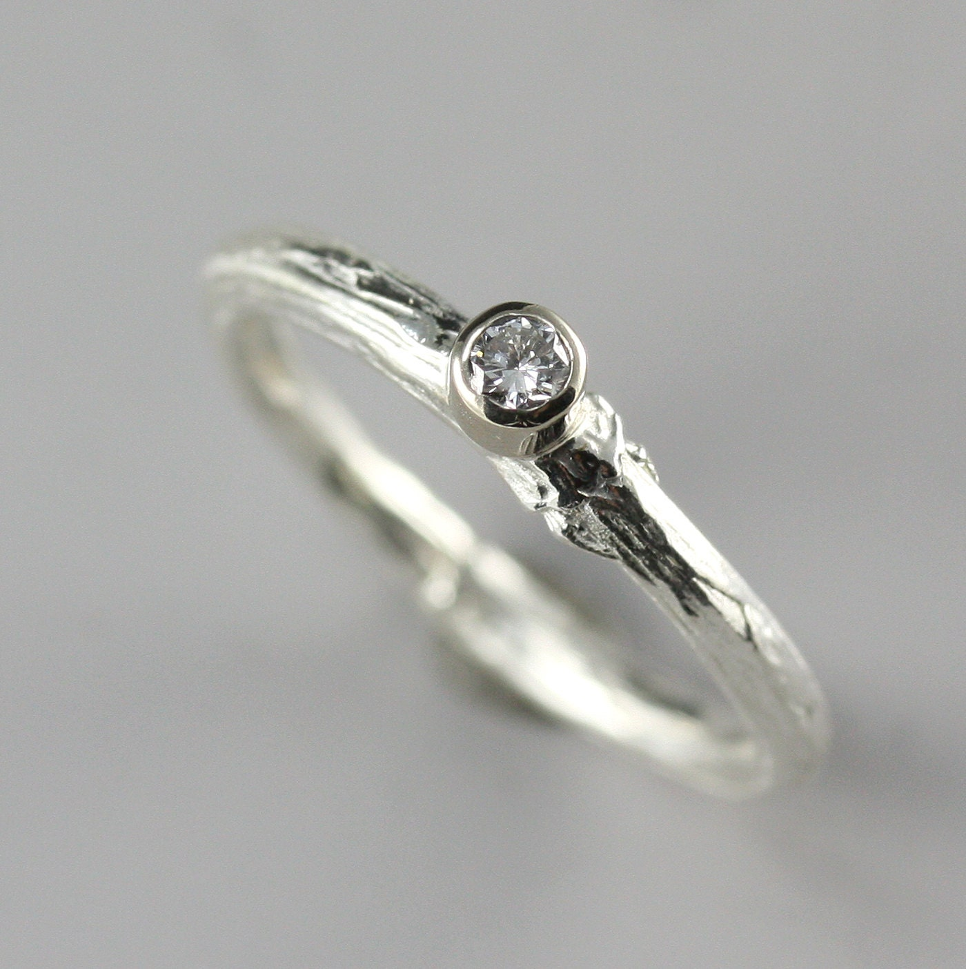 petite white gold twig engagement ring with diamond white gold branch ring natural rustic - Nature Wedding Rings