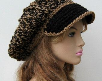 Newsboy hat, visor cap, billed man or woman hat, Slouchy Beanie, slouchy hat, adult size NEWSBOY cap, handmade crochet in brown black Boucle