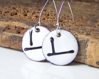 Enamel on Copper, Copper Enamelled, White and Black Enamel Earrings, Enamel Earrings, Etsy, Enamel, Enamel Jewelry, Etsy Jewelry