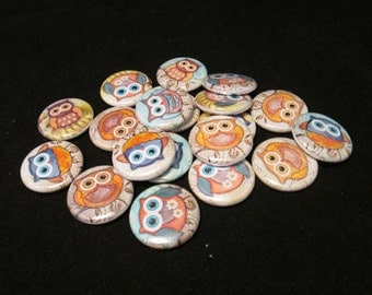 15 Owl Flat back Buttons or Pinback Buttons