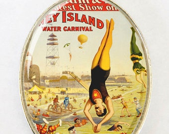 Vintage Circus Divers Poster LARGE 40X30mm glass domed pendant sideshow performers freaks