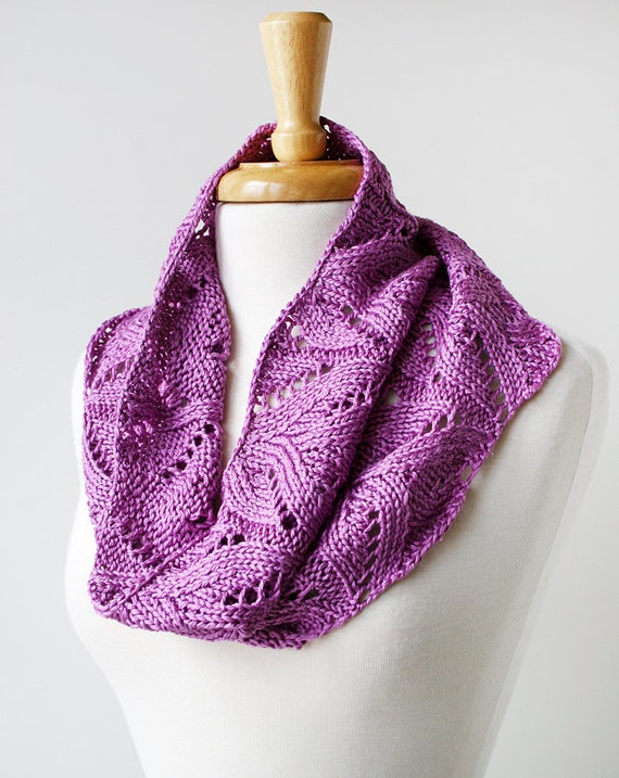 Spring Summer Women's Fashion - Hand Knit 100% Silk Lace Cowl Scarf - Orchid Color