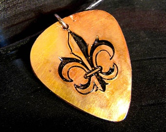 Fleur De Lis, Engraved Copper Guitar Pick Necklace