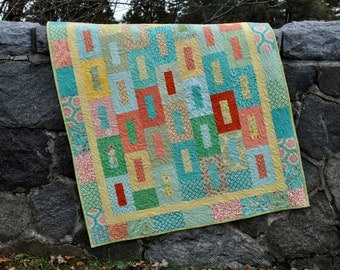 PDF Quilt Pattern.....Layer Cake, Fat Quarter and Fat Eigth friendly, ..Baby and Large Lap size, Falling into Place