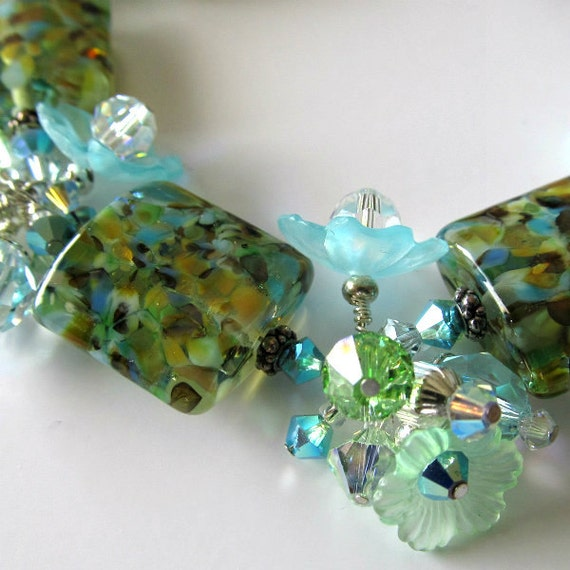 Lampwork bracelet, beaded bracelet, aqua and green, lucite flowers, beaded jewelry, Summer Breezes