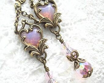 Captured Heart Earrings - Pink Glass Opal Earrings Antiqued Brass Ox Earrings Valentine Earrings