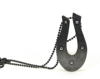 Oxidized Steel and Clear Resin Riveted Pendant Necklace - Acquisition