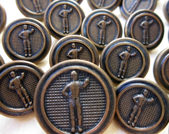 Vintage Metal Buttons - Horse Jockey Set